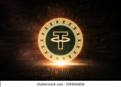 Tether - USDT - 3D Cryptocurrency Neon Coin