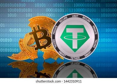 Tether (USDT) coin stands in front of cracked coin bitcoin on binary code background