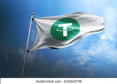 Tether USDT cryptocurrency logo 3d realistic flag render