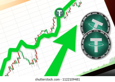 TETHER (USDT) index rating go up on exchange market; cryptocurrency chart on tablet pc (smartphone) with arrow pointing up and coins tether. Place for text (prices); top view