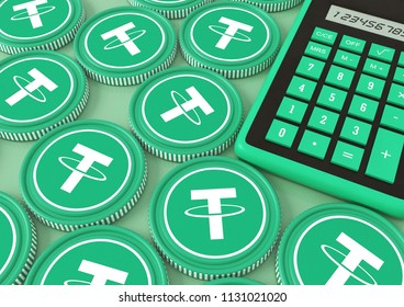 Tether.Bitcoin. Bidding on the exchange with Crypto currency. Extraction of crypto currency. Chips with crypto currency symbols and a calculator. 3d illustration.