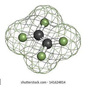 Tetrafluoroethylene (TFE), polytetrafluoroethylene (PTFE) polymer building block. PTFE is used in non-stick coating for cookware and as a lubricant. Atoms are represented as spheres.