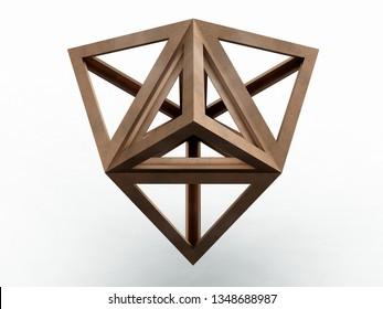 Tetrahedron, Leonardo da Vinci. 3D model