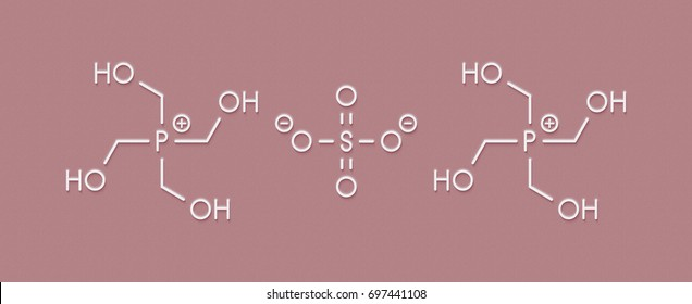 tetrakis(hydroxymethyl)phosphonium sulfate (THPS) biocide molecule. Skeletal formula.