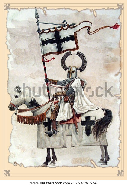Teutonic medieval knight with banner, Peipus lake battle. Mounted knight illustration.