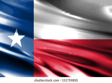 Texan flag waving in the wind with some folds