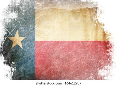 Texan flag waving in the wind with some spots and stains