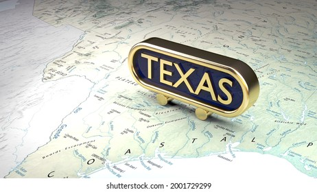 Texas, a 3d scene of a gold sign on the map of the state