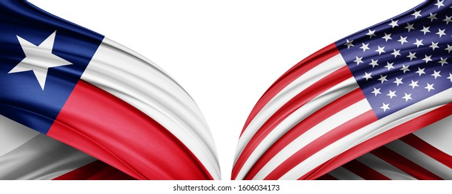 texas and American flag of silk with copyspace for your text or images and white background -3D illustration