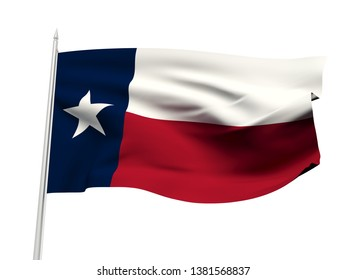 texas flag floating in the wind with a White sky background. 3D illustration.