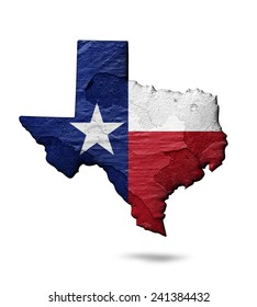 Texas flag map of wall and white background