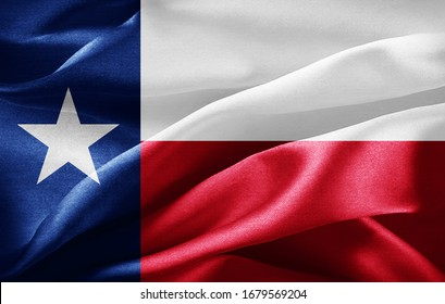 texas flag of silk -3D illustration