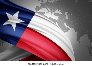 texas flag of silk with copyspace for your text or images and world map background-3D illustration