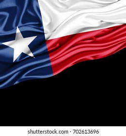 texas flag of silk with copyspace for your text or images and black background -3D illustration