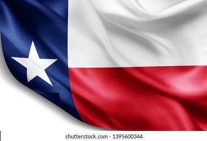 texas flag of silk-3D illustration