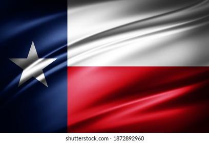 texas-Flagge der Seide-3D-Illustration