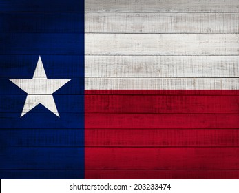 Texas  flag and wood background