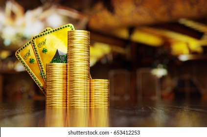 Texas hold'em hand on two aces of spades behind stack of gold coins on reflective surface. 3D illustration with space on the right.