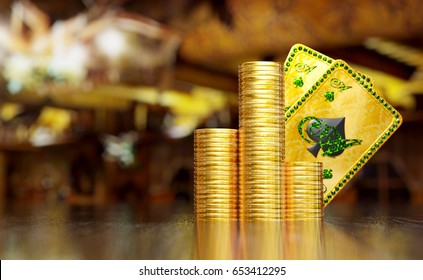 Texas hold'em hand on two aces of spades behind stack of gold coins on reflective surface. 3D illustration with space on the left.
