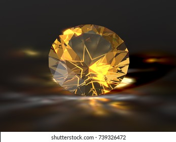 Texas Lone Star cut golden topaz on black background with golden yellow caustics rays. Close-up view. 3D rendering illustration