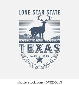 Texas the lone star state, the stylized national emblem of America, deer, blue color