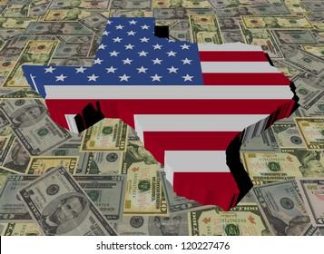 Texas Map flag on American dollars illustration