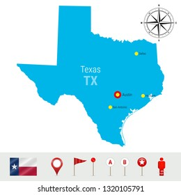 Texas Map Isolated on White Background. High Detailed Silhouette of Texas State. Flag of Texas. 3D Map Markers or Pointers, Navigation Elements. Rose of Wind or Compass Icon