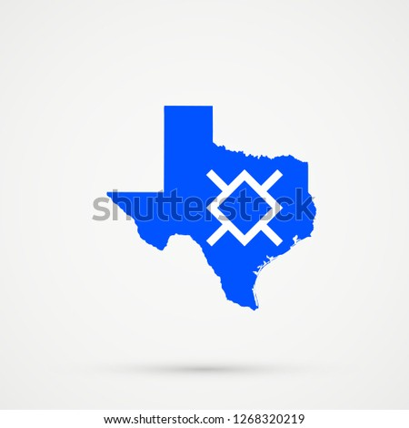 Map Of Northern Texas.Texas Map Northern Cheyenne Flag Colors Stock Illustration