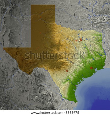 Relief Map Of Texas.Royalty Free Stock Illustration Of Texas Shaded Relief Map Shows