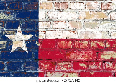 Texas state flag of America on brick wall