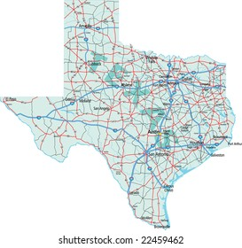 Texas State Interstate and US Highway Map