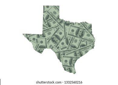 Texas State Map, Hundred Dollar Bills