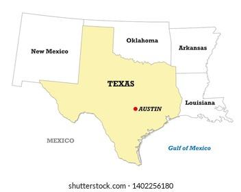 Map Of Texas With Austin.Imagenes Fotos De Stock Y Vectores Sobre Texas Map Shutterstock