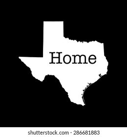 "Texas State outline, white on black with text ""home"" inserted"