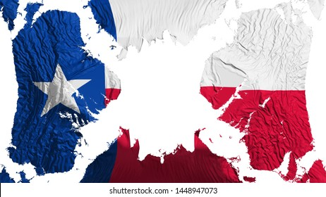 Texas state torn flag fluttering in the wind, over white background, 3d rendering