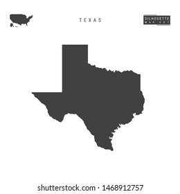 Texas US State Blank Map Isolated on White Background. High-Detailed Black Silhouette Map of Texas.