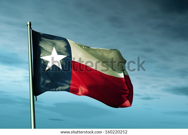 Texas (USA) flag waving on the wind