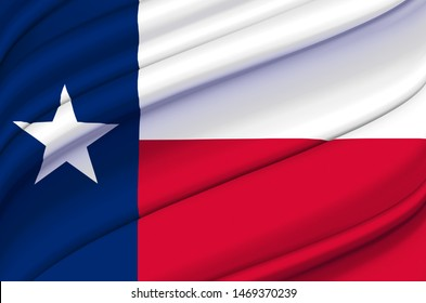 Texas waving flag illustration. US states. Perfect for background and texture usage.