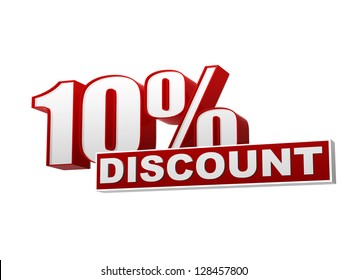 text 10 percentages discount 3d red white banner, letters and block, business concept