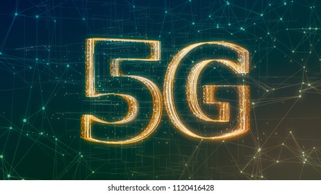 text 5G made with particles, abstract background, concept of high speed internet mobile network (3d render)