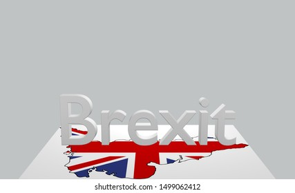 Text Brexit with map of Great Britain. 3d rendering