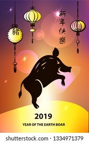 Text chinese language translation hieroglyph is happy new year. Chinese earth boar of horoscope sign. Silhouette lantern on abstrct background.  Greeting card in 2019. illustration
