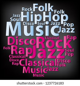 Text cloud. Music wordcloud. Typography concept. Illustration.