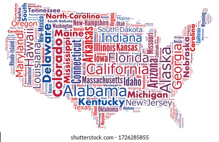 Text collage of the states in USA