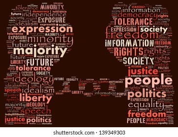 Text collage of suppression in a democratic world