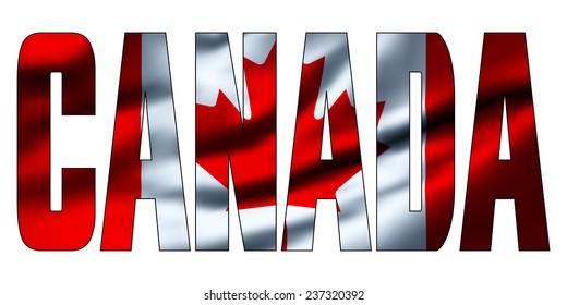 Text concept with waving flag - Canada