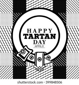 The text Happy Tartan day placed on a Scottish tartan pattern