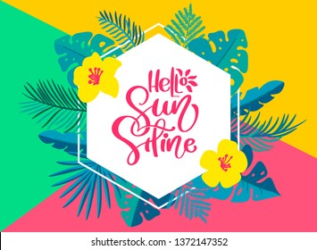 Text Hello summer in geometric tropical floral leaves frame. Hand drawn lettering calligraphy illustration. quote design logo greeting card. Inspiration typography poster, banner