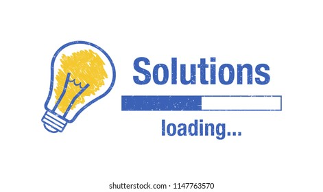 """Text """"solutions loading"""", light bulb and loading screen on white background."""
