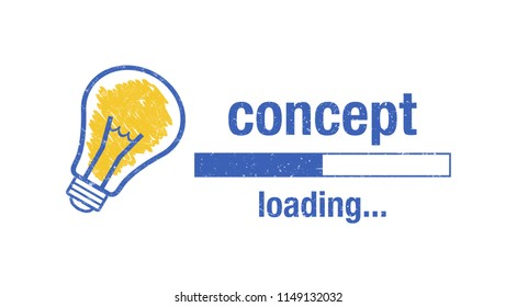 """Text """"concept loading"""", light bulb and loading screen on white background."""